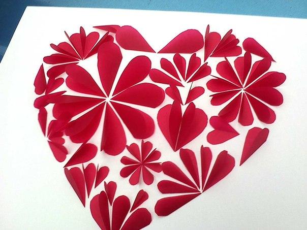 Как сделать 3д открытку с сердечками 7